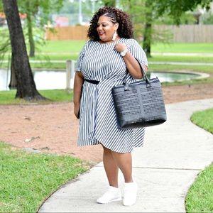 Eloquii Gray/white striped dress